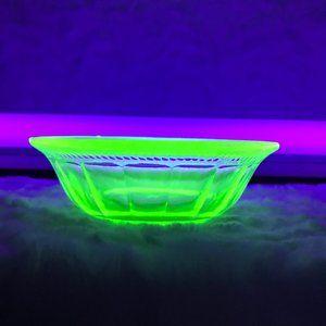 Vintage Vaseline Glass Dessert Bowl Block Optic